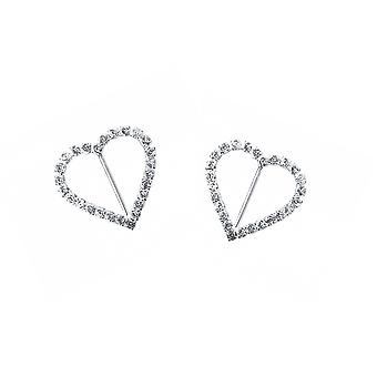 LAST FEW - 2 Silver 32mm Diamante Heart Buckles for Wedding Floristry & Papercrafts