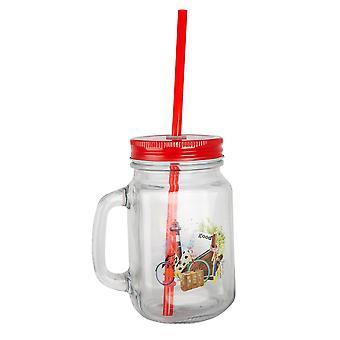 BiggDesign Nature Verre de limonade avec poignée, couleur rouge, 500 ml, matériau en verre, écologique, hygiénique