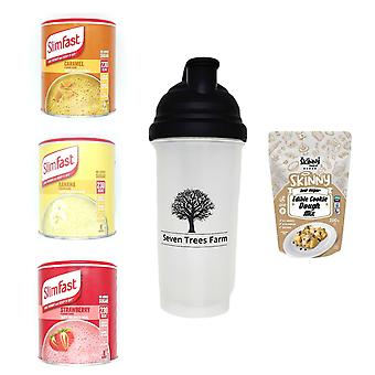 Seven Trees Farm Kit with 5 products | 1 x Caramel, 1 x Banana, 1 x Strawberry Shakes, 1 x Shaker and 1 x Chocolate Chip Cookie Mix, Get in shape!