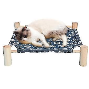 Łóżko kota, Hamak Cat Litego drewna płótno mogą być usunięte (Navy)