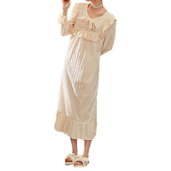 Silktaa Ladies Nightdress Cotton Long-sleeved Solid Color Home Wear
