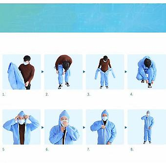 10 Pieces Of Non-woven One-piece Hooded Disposable Protective Clothing For Farms (xxl Code)