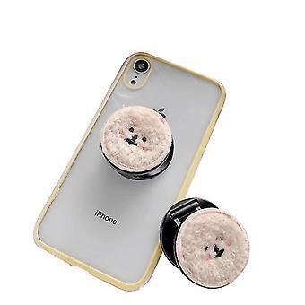 Soporte de teléfono plegable telescópico portátil, forma de perro de peluche de dibujos animados (khaki)
