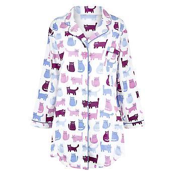 Champion Paris Womens Cat Print 100% Brushed Cotton Nightdress 12.14 Blue