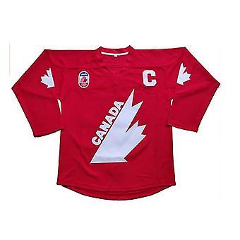 Gretzky #99 Maillot de hockey sur glace d'Équipe Canada Noël Été Cousu Rouge