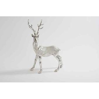36cm Christmas Silver Metal Stag Xmas Tree Decoration