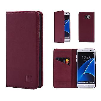 32. klassische Real Leather Wallet für Samsung Galaxy S7 Rand G935 - Burgund