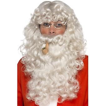 Julemand kostume sæt 4-stykke skæg paryk briller pipe jul Santa sæt
