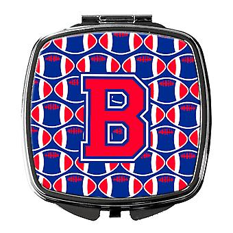 Letter B Football Harvard Crimson and Yale Blue Compact Mirror