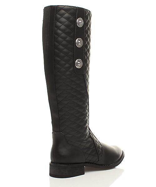 Ajvani womens low heel flat quilted 3 button stretch calf zip up riding boots
