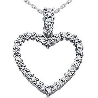 1ct Diamond srdce prívesok 14K biely zlatý náhrdelník