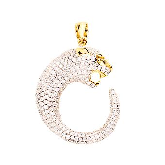 925 iced out sterling silver pendant - PANTHER gold