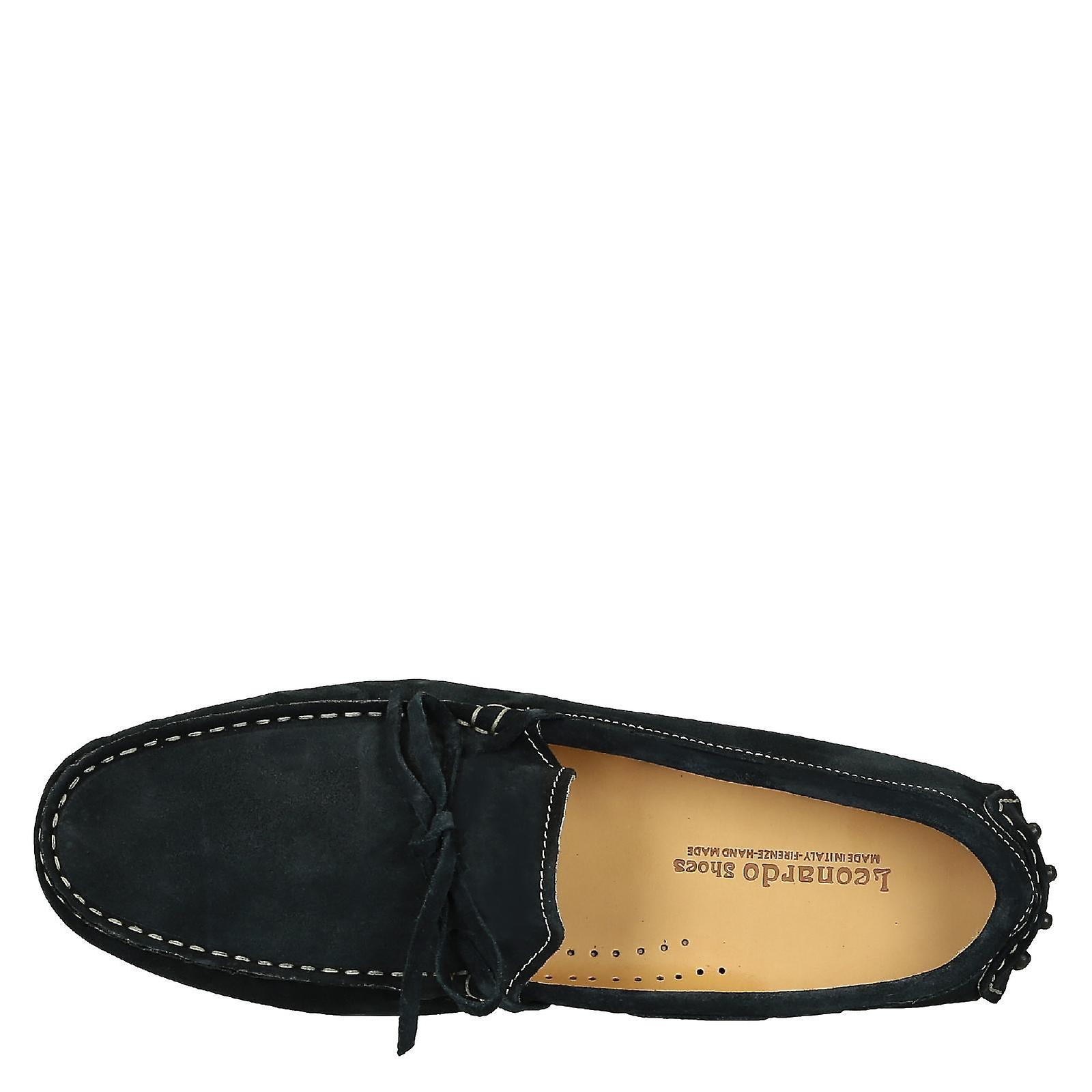 Men's driving moccasins in blue suede leather