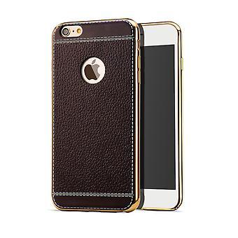 Caso de telefone celular para saco caso de Apple iPhone 8 proteção dos para-choques casos falso couro marrom