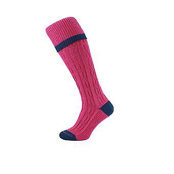 HJ Hall Cable Stripe Wool Blend Thermal Shooting-Hike Socks 6-10 Raspberry