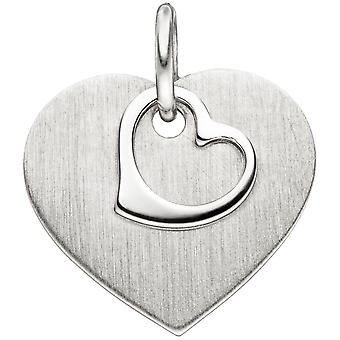 Pendant heart frosted 925 sterling silver heart pendant Silver Pendant