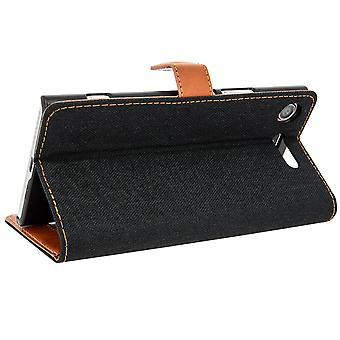Lerret stil stoff Flip lommebok tilfelle, slank sak for Sony Xperia XZ1 - svart