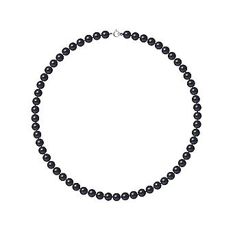 Ras ネックレス首女性養殖の真珠淡水黒 AA とクラスプ ホワイトゴールド 750/1000