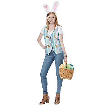 Easter Bunny Hare Rabbit Headband Vest Holiday Dress Up Womens Costume Kit