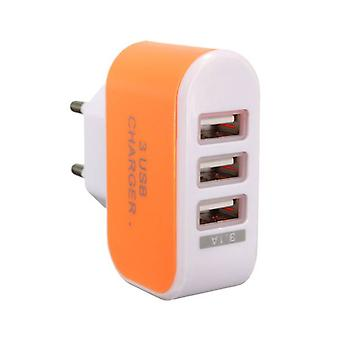Stuff Certified ® Triple (3x) USB Port iPhone / Android 5V - 3.1A Wall Charger Wall Charger AC Orange Home