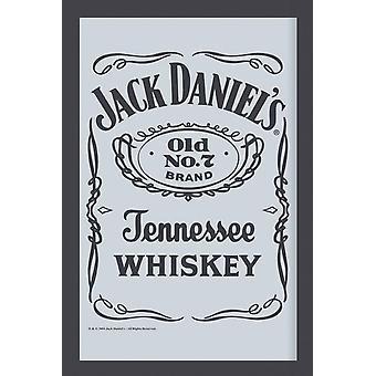 Jack Daniel's Spiegel Black Label Wandspiegel mit schwarzer Kunststoffrahmung in Holzoptik.
