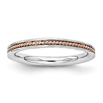 2.25mm 925 Sterling Argent Rhodium plaqué Rose Gold Flashed Stackable Expressions Pink plaqué Ring Jewelry Gif