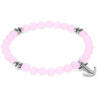 Anchor and Crew Starboard Silver and Rose Quartz Stone Bracelet - Pink/Silver