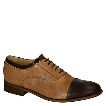 Leonardo Shoes Men's handmade oxford lace-ups shoes in tan brown leather