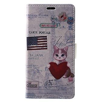 Sony Xperia XZ1 portafoglio sacchetto-gatto che tiene cuore