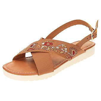 Dr Keller Slingback Low Wedge Open Toe Crossover Sandals