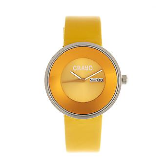 Crayo Button Leather-Band Unisex Watch w/ Day/Date - Yellow