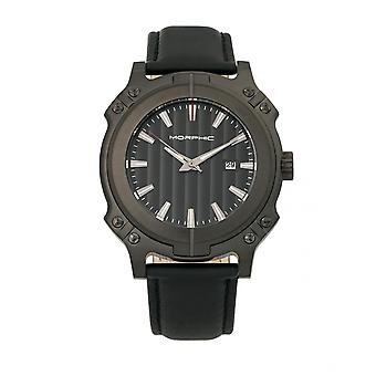 Morphic M68 Series Leather-Band Watch w/ Date - Black