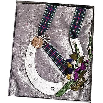 Wedding Horse Shoe Boxed Green Tartan by Craftilydunn