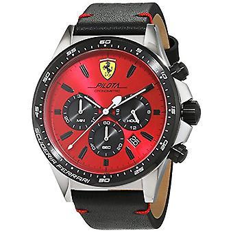 Men's watch with black leather strap, Scuderia Ferrari 0830387