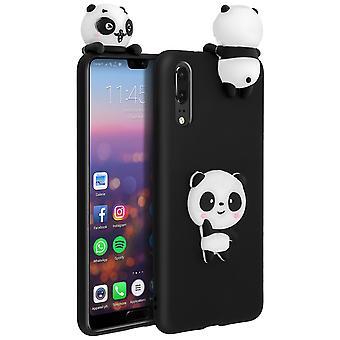 Caso per Huawei P20 flessibile e morbida protezione con disegno 3D panda - nero