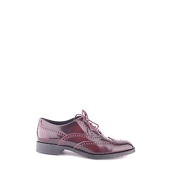 Tod's Ezbc025005 Women's Burgundy Patent Leather Lace-up Shoes