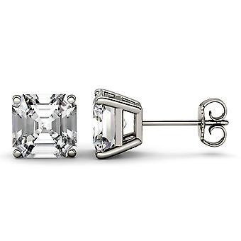 14K wit goud Moissanite door Charles & Colvard 9mm Asscher Stud Earrings Stud Earrings, 6.28cttw DEW