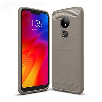 Motorola Moto G7 power TPU case kolfiber optik borstad skydd täcka grå