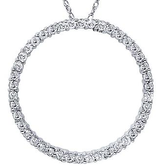 1ct Diamond Circle Of Life Eternity Pendant 14K White Gold