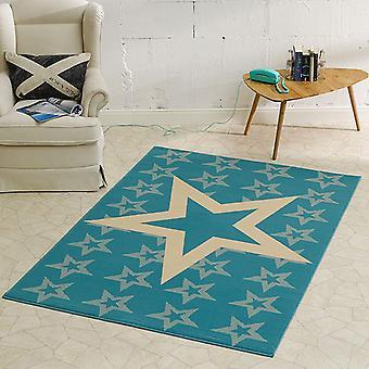 Design velour carpet star light blue 140 x 200 cm | 102313