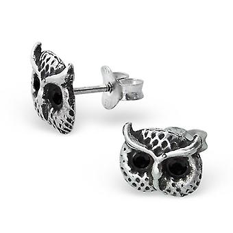 Sterling Silver and Crystal Owl Face Stud Earrings