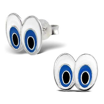 Sterling Silber Retro Cartoon Eyes Stud Earrings