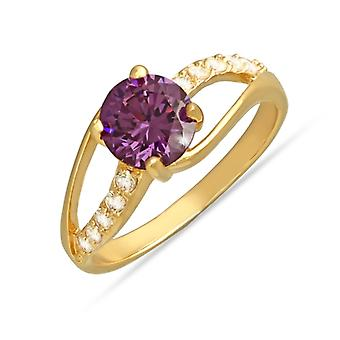 Gold Plated Ring With Central Synthetic Amethyst And Cubic Zirconia