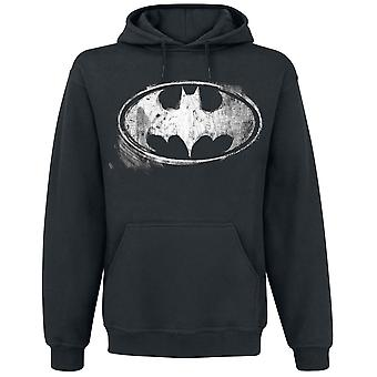 Batman Unisex Adultes Distressed Monochrome Logo Pullover Hoodie