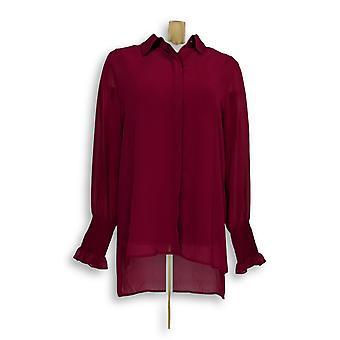 Susan Graver Women-apos;s Top Sheer Chiffon Shirt And Tank Pink A298494