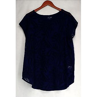 Apt. 9 Short Sleeve Burnout Panel Navy Blue Top Womens