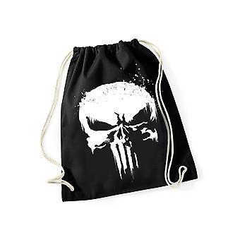 Punisher Skull grunge gym taske gym taske sort/hvid, trykt, 100% bomuld.