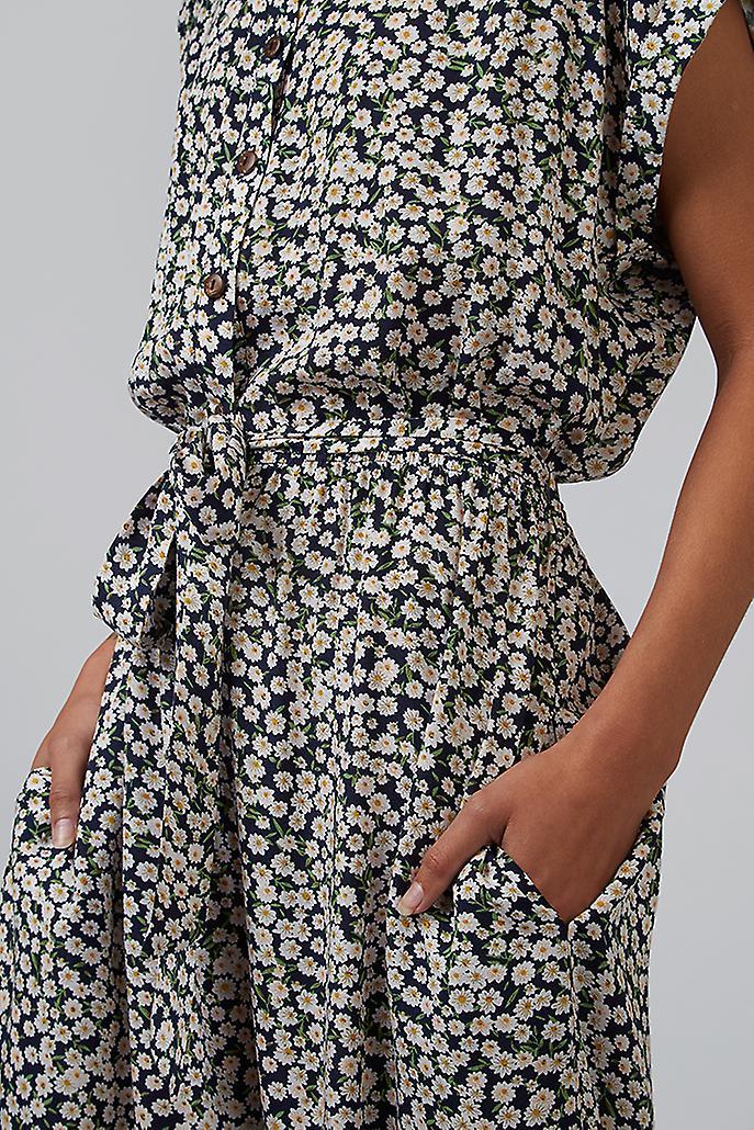 Louche Doryan Floral Shirt Jumpsuit Navy