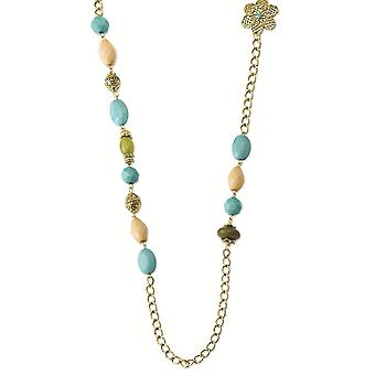 Gold tone Enamel Fancy Lobster Closure Teal Green and Cream Acrylic Beads 38inch Necklace Jewelry Gifts for Women