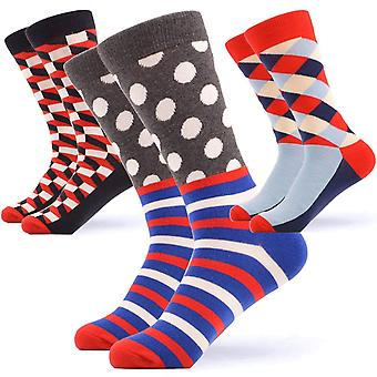 Men's geometric theme gift 3 pairs of socks
